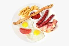 Continentaal ontbijt met breadstick Hoogste mening Geïsoleerd op whi stock afbeeldingen