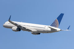 Continental Airlines Boeing 757 airplane taking off from Los Angeles International Airport. Stock Image