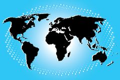 Continental in Black of World Map on Blue Art Background Stock Photo