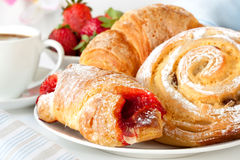 Continental Breakfast. With assortment of pastries, coffees and fresh strawberries Stock Photo