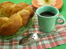 Continental Breakfast. Swedish Cardamom Bread with a cup of strong black coffee Royalty Free Stock Photo