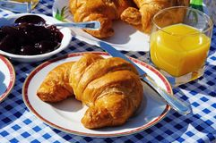 Continental breakfast. Croissant with raspberry jam and orange juice, Andalusia, Spain, Western Europe Stock Photos