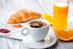 Continental Breakfast. Of coffee, orange juice and croissants Royalty Free Stock Photo