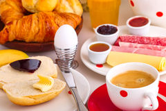 Continental breakfast. With coffee, cheese,jelly,bread rolls and orange juice Royalty Free Stock Photo