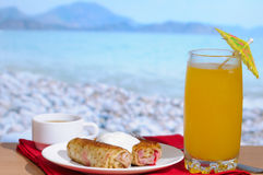 Continental Breakfast. Against sea background Stock Photos