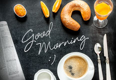 Continental breakfast on black chalkboard. Good morning poster design with continental breakfast on black chalkboard background. Bar morning menu - coffee Royalty Free Stock Images