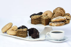 Continental breakfast buffet table setting with coffee and pastr Stock Image