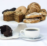 Continental breakfast buffet table setting with coffee and pastr Stock Images