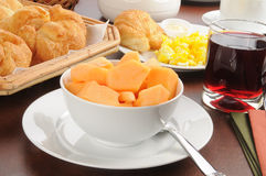 Continental Breakfast with Cantaloupe Royalty Free Stock Photo