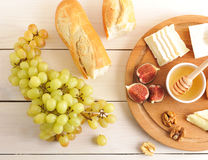 Continental Breakfast - cheese, honey, figs, walnuts, grapes and Royalty Free Stock Photos