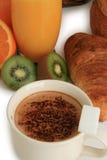 Continental breakfast, coffe, bread, orange juice Stock Images
