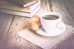 Continental breakfast with coffee and croissant Royalty Free Stock Photo