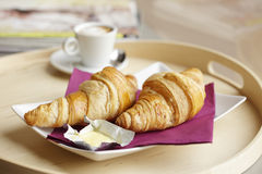 Continental Breakfast with Coffee and Croissant Royalty Free Stock Photography