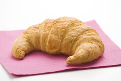 Continental breakfast of coffee and croissants Stock Photos