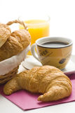 Continental breakfast of coffee and croissants Stock Photography