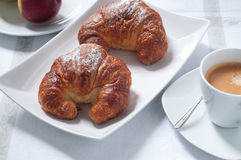 Continental breakfast with coffee , croissants and fresh fruit Royalty Free Stock Photo