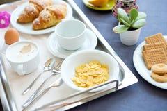 Continental breakfast coffee milk orange juice Royalty Free Stock Photos