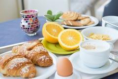 Continental breakfast coffee milk orange juice Royalty Free Stock Image