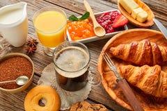 Continental breakfast croissant coffe orange juice Royalty Free Stock Photo