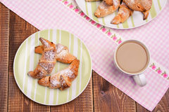 Continental breakfast with croissant and milk coffee. Stock Photography