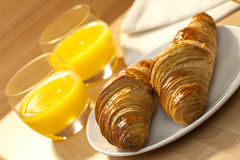 Continental Breakfast Croissant & Orange Juice Royalty Free Stock Images