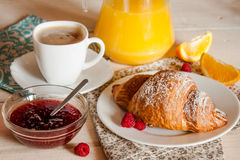 Continental breakfast with croissant Stock Images