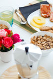 Continental breakfast with croissants, orange juice and coffee. Royalty Free Stock Photos