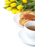 Continental breakfast and flowers Royalty Free Stock Photos