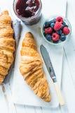 Continental breakfast, fresh croissant Royalty Free Stock Photos