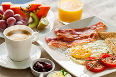 Continental breakfast with fresh fruit. Royalty Free Stock Photography