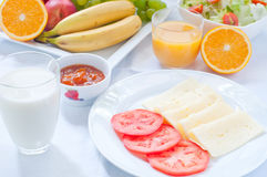 Continental breakfast with fruit , coffee , cheese Royalty Free Stock Photos
