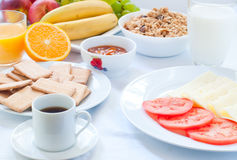 Continental breakfast with fruit , coffee , cheese Royalty Free Stock Photo