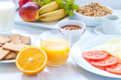 Continental breakfast with fruit , coffee , cheese Stock Photo