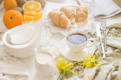 Continental breakfast with gold french croissants fruits and cup Royalty Free Stock Photos