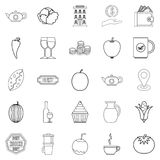 Continental breakfast icons set, outline style. Continental breakfast icons set. Outline set of 25 continental breakfast vector icons for web isolated on white Royalty Free Stock Photos