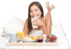 Continental Breakfast In Bed - Woman Isolated Stock Photos