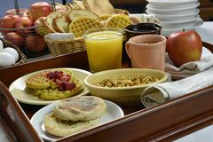 Free Continental Breakfast On Wood Tray Stock Photo - 46288140