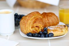 Continental breakfast served on the table Royalty Free Stock Photo