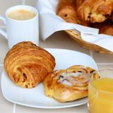 Continental breakfast served on the table Stock Image