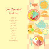 Continental Breakfast. Set of Standard Hotels Continental Breakfast with Space for Menu. Vector EPS 10 Royalty Free Stock Photo