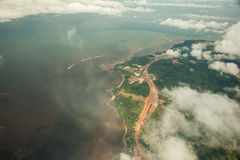 Continental coast, Guinea Ecuatorial. Aerial view of continental coast, near Mbini, from Equatorial Guinea stock photography