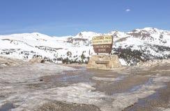 Continental Divide, Loveland Pass, Colorado. Landmark Continental Divide sign at the top of highway 6 at Loveland Pass, Colorado stock image