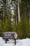 Continental divide sign on mountain in snow - Yellowstone Nation Royalty Free Stock Photography