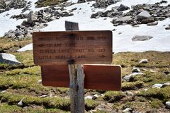 Continental Divide Trail sign in Wind Rivers Range Wyoming along Continental Divide Trail No. 094, Fremont Crossing, Seneca Lake,. Lester Pass, Island Lake and Royalty Free Stock Image