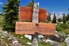 Continental Divide Trail sign in Wind Rivers Range Wyoming along Continental Divide Trail No. 094, Fremont Crossing, Seneca Lake,. Lester Pass, Island Lake and Stock Photos