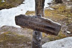 Continental Divide Trail sign in Wind Rivers Range Wyoming along Continental Divide Trail No. 094, Fremont Crossing, Seneca Lake,. Lester Pass, Island Lake and Stock Photography