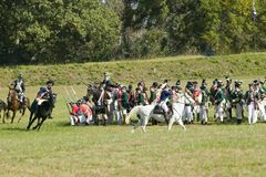 Continental Dragoons charging the square on horseb Royalty Free Stock Photography