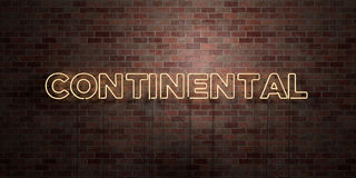 CONTINENTAL - fluorescent Neon tube Sign on brickwork - Front view - 3D rendered royalty free stock picture Stock Photo
