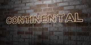 CONTINENTAL - Glowing Neon Sign on stonework wall - 3D rendered royalty free stock illustration Stock Image