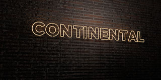CONTINENTAL -Realistic Neon Sign on Brick Wall background - 3D rendered royalty free stock image Royalty Free Stock Images